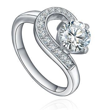 Stainless Steel Round Cubic Zirconia S Shape Ring