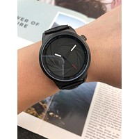 DCCK A0031 Armani Spiral Dial Fashion Leather Watcahaband Watches Black