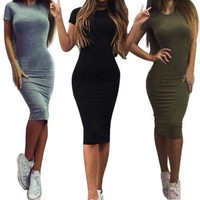 Womens Short Sleeve Bodycon Pencil Dress Summer Casual Slim Dresses