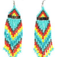Turquoise Beaded Native Fringe Chandelier Earrings Dangling Tribal Statement ED47 Fashion Jewelry