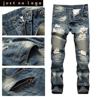 HOT!! Men's Destroyed Frayed Biker Jeans Ripped Distressed Straight Skinny Jeans Bleached Denim Blue Pants Scratch Long Trousers