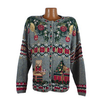 Ugly Christmas Sweater Vintage Tacky Holiday Party Women's Cardigan