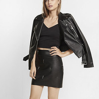 black minus the leather with spikes mini skirt
