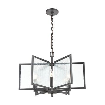 Inversion 6-Light Chandelier in Charcoal with Textured Clear Glass