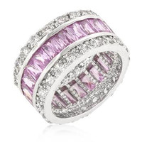 Triple Row Pink Eternity Ring, size : 09