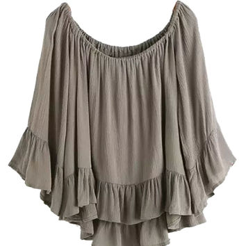 Brown Long Sleeve Ruffled Blouse