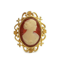 Vintage Faux Coral Cameo Brooch Ornate Gold Tone Floral Frame Setting - Orange and Cream Cameo Pin