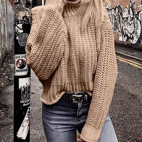Image of Pullovers Knitted Sweater Women Casual Sweaters Jumper Solid Female Turtleneck Sweater Knitwear Pull Femme