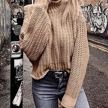 Pullovers Knitted Sweater Women Casual Sweaters Jumper Solid Female Turtleneck Sweater Knitwear Pull Femme