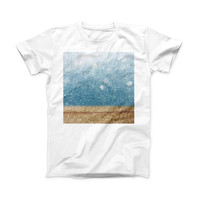 The Unfocused Radient Beach Scene ink-Fuzed Front Spot Graphic Unisex Soft-Fitted Tee Shirt