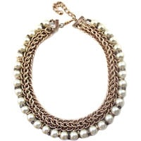 Women Vintage Luxe Faux Pearl Chain Necklace