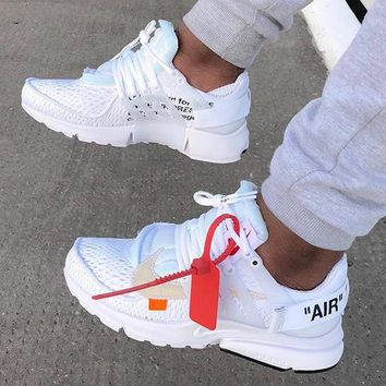 OFF-WHITE x NIKE Air Presto Fashion Women Men Casual Sport Running Shoes Sneakers White I/A