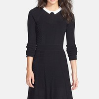 Women's Cynthia Steffe 'Nola' Collared Textured Fit & Flare Sweater Dress