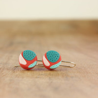 Funky contemporary colorblock polymer clay earrings, red, teal, pink, turquoise
