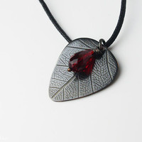 "Guitar gifts for her, girl, woman, mom - Custom guitar pick necklace  - for girl -  ""Classy-Pick"" brand - with organic leaf pattern - medium"