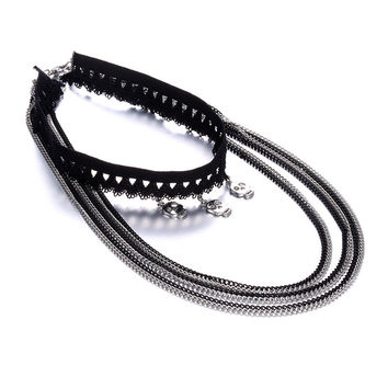 Shiny Stylish New Arrival Jewelry Gift Chain Hot Sale Lace Punk Alloy Skull Necklace [10825998342]