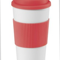 Oggi Hot to Trot Double Walled 16-Ounce Travel Mug, Red Lid