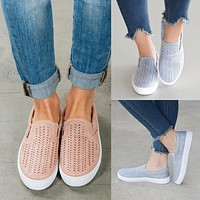 Hollow Out Pure Color Canvas Round Toe Flats Casual Shoes