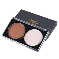 Professional Makeup 2 Color Bronzer Highlighter Powder Palette Grooming Trimming Powder Make Up Cosmetic Face Contour Grooming