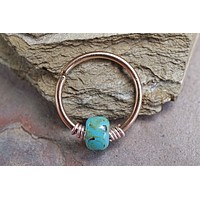 Helix Hoop Turquoise Beaded Rose Beaded 16g 18g or 20 Gauge Rose Gold Nose Hoop Ring Tragus Cartilage Hoop Earring