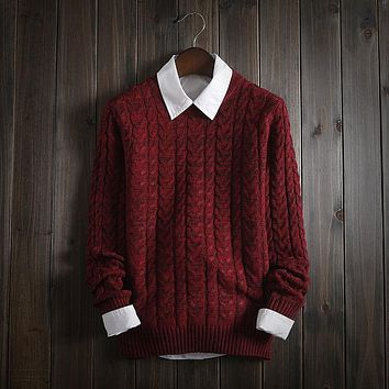 2017 New Winter High Quality Sweater Men Round Collar Long Sleeve Mens Christmas Sweaters Casual Very Thick Pullover Men