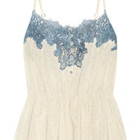 Rosamosario - Bollicine Love Chantilly lace-trimmed printed silk crepe de chine camisole