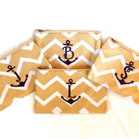 Monogrammed Makeup Bag Zippered Gold and White Chevron Cosmetic Pouch