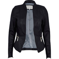 River Island Womens Black leather-look fitted jacket