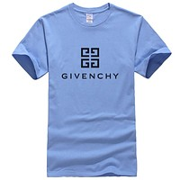 Givenchy Summer New Fashion Bust Letter Pattern Leisure Women Men Top T-Shirt Blue