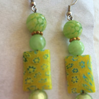 Lime yellow Murano glass earrings hand made glass beads earrings silver plated original design beautiful gift Mother's Day birthday Holliday