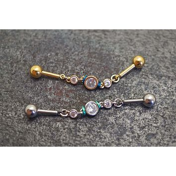 Free Flowing Chain 3 Crystal 14g Industrial Barbell