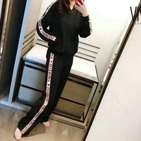 Givenchy Fashion Casual Logo Print Side Stripe Long Sleeve Zipper Long Pants Two Piece G-AGG-CZDL