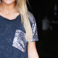 Acid Wash Sequin Tunic {Navy}