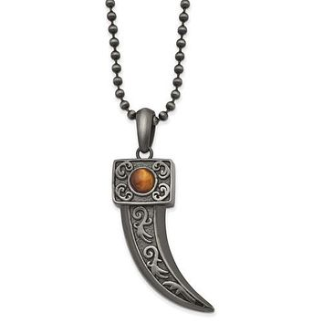 """Stainless Steel Antiqued White Bronze Plated With Tiger's Eye Horn 22"""" Necklace"""