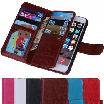 Leather Wallet Case with Card Slot Holder for iPhone