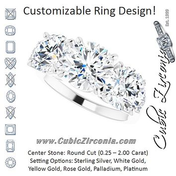 Cubic Zirconia Engagement Ring- The Skylah (Customizable Triple Round Cut Design with Quad Vertical-Oriented Round Accents)