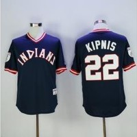 Cleveland indians 22 Jason Kipnis Baseball Jersey Navy Blue Throwback