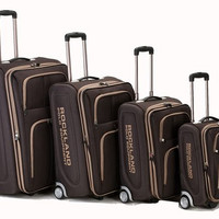 F120-BROWN Varsity 4Pc Rockland Polo Equipment Luggage Set