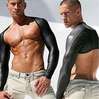 Men Sexy Leather Tank Tops Breathable Mesh Vest Man T Shirt Sleeves Tight Protection Sleeve Catwalk Stage Sports and Fitness [8833972620]