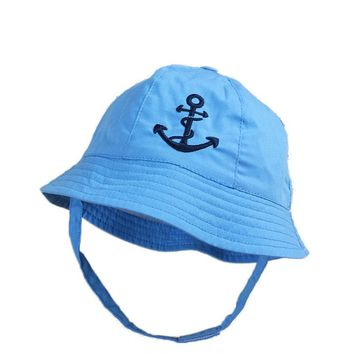 2018 Summer Embroidery Anchor Baby Sun Hat Infant Girls Boys Bucket Hat Cotton Baby Summer Hat Sun Protection Caps 3-12M