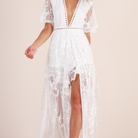 Lets Get Loud Maxi playsuit in white Produced By SHOWPO