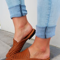 Take My Time Mules: Cognac