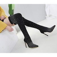 Babe Thigh High Crystal Stocking Boots
