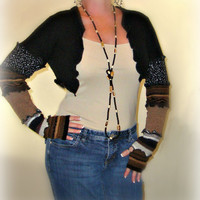 Black Shrug, Bolero Shrug, Sweater Shrug, Long Sleeve Shrug, Upcycled Shrug, Dancers Shrug, Sweaterlove