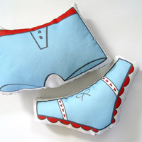 His and Hers Undie Pillows in Blue and Red by Yellow Heart Art