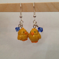 Easter Earrings, Chick Polymer Clay, Chick Sculpey, Dangle Earrings, Easter Jewelry, Chick Earrings, Chick Jewelry, Yellow Earrings