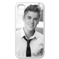Apple iPhone 4 4G 4S Cute Bieber Justin Swag Suit Smile WHITE Sides Case Skin Cover Faceplate Protector Accessory Vintage Retro Unique Comes in Case Cartel Packaging