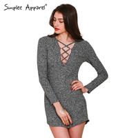 Simplee Apparel charcoal women winter knitted dresses Long sleeve v neck lace up sweater dress Casual bodycon dress vestidos