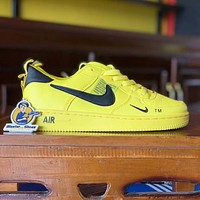 Nike Air Force casual versatile men and women sports shoes Yellow