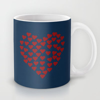 Hearts Heart Red on Navy Mug by Project M